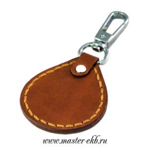 Брелок кожаный коричневый под гравировку