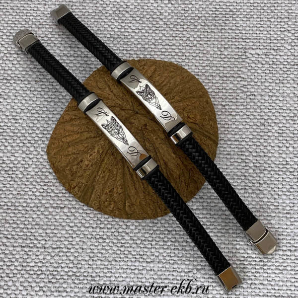 Браслет из плетеной кожи с гравировкой